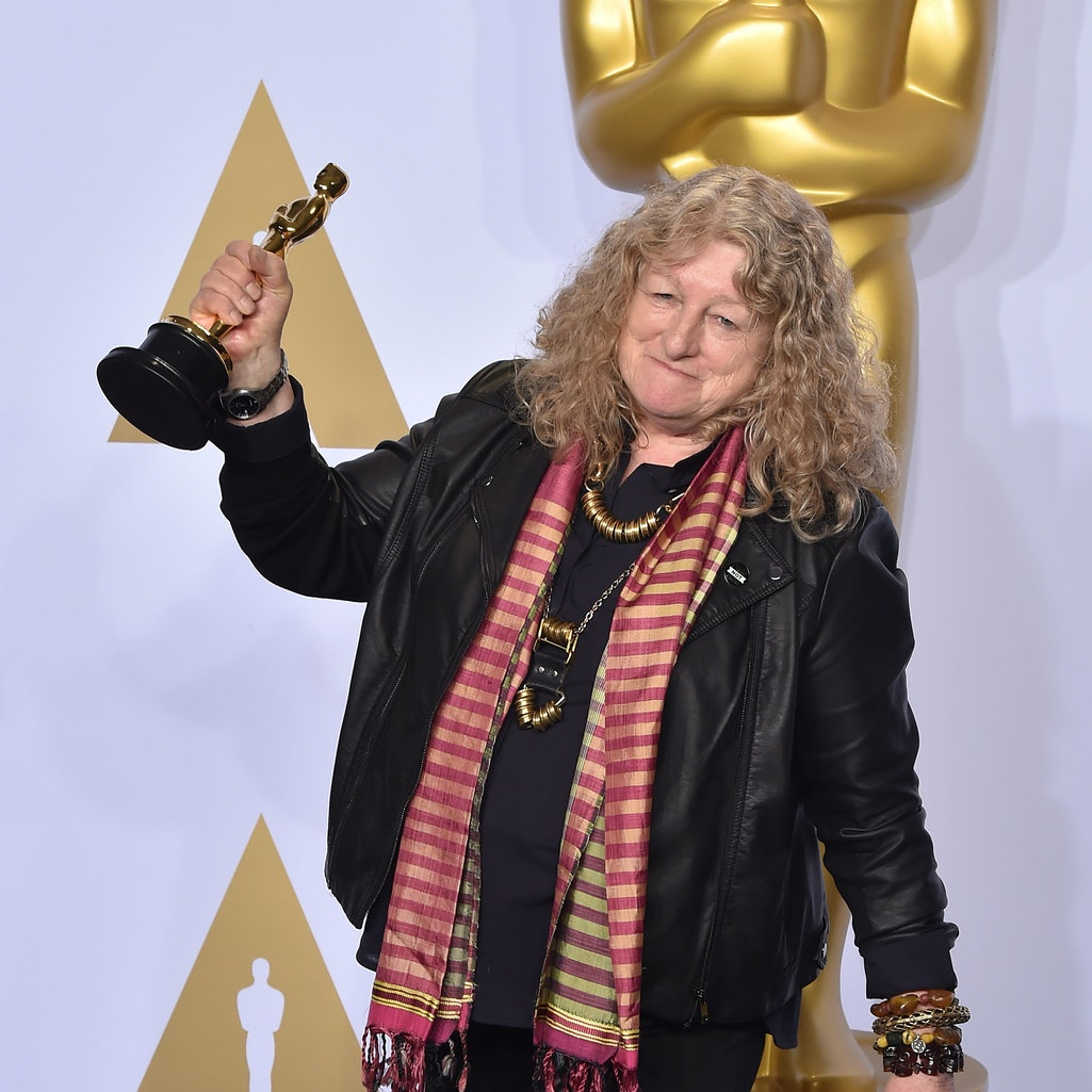 HOLLYWOOD, CA - FEBRUARY 28:  Jenny Beavan, winner of the Best Costume Design award for 'Mad Max: Fury Road,' poses in the press room at the 88th Annual Academy Awards at Hollywood & Highland Center on February 28, 2016 in Hollywood, California.  (Photo by C Flanigan/FilmMagic)