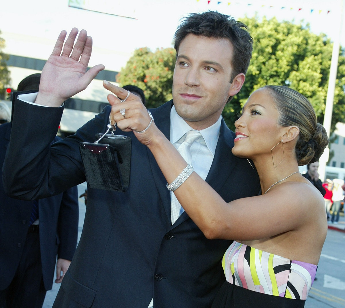 """LOS ANGELES - FEBRUARY 9:  Actor Ben Affleck (L) and his fiance actress/singer Jennifer Lopez arrive at the premiere of """"Daredevil"""" at the Village Theatre on February 9, 2003 in Los Angeles, California. (Photo by Kevin Winter/Getty Images)"""