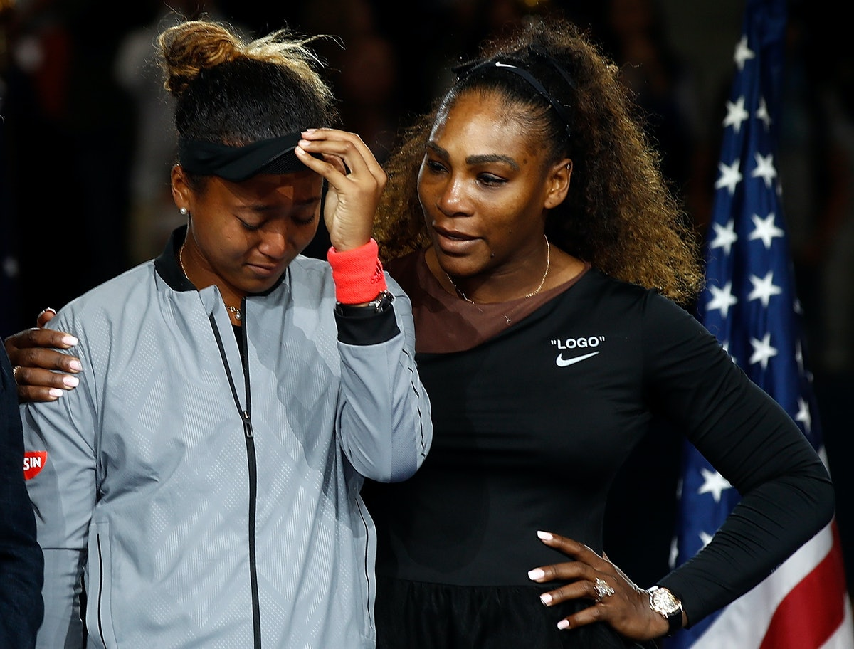 NEW YORK, NY - SEPTEMBER 08:  Naomi Osaka of Japan cries after winning the Women's Singles finals match alongside runner up Serena Williams of the United States on Day Thirteen of the 2018 US Open at the USTA Billie Jean King National Tennis Center on September 8, 2018 in the Flushing neighborhood of the Queens borough of New York City.  (Photo by Julian Finney/Getty Images)