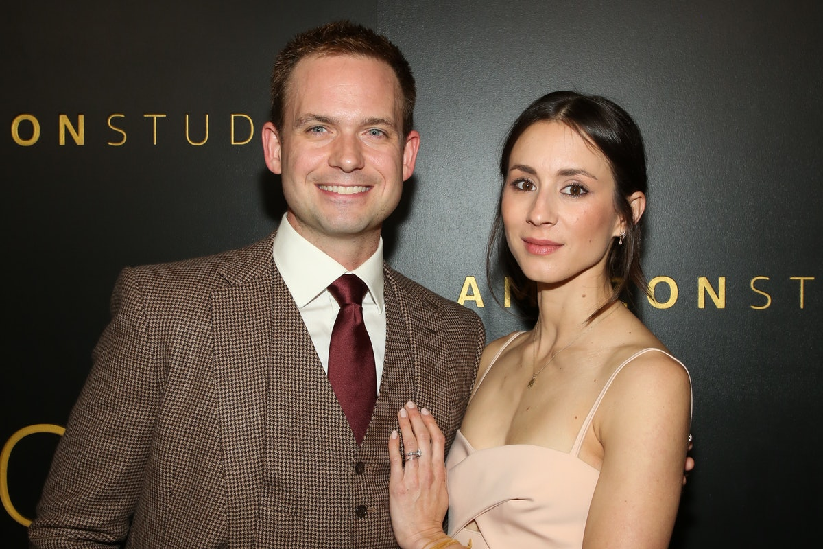 BEVERLY HILLS, CALIFORNIA - JANUARY 05: Actors Patrick J. Adams (L) and Troian Bellisario (R) attend Amazon Studios Golden Globes after party at The Beverly Hilton Hotel on January 05, 2020 in Beverly Hills, California. (Photo by Paul Archuleta/WireImage)