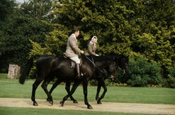 President Reagan and Nancy Reagan goes horse riding with Queen Elizabeth II of Great Britain. Queen Elizabeth II, born in London in 1926, Queen of Great Britain and Northern Ireland, formerly Princess Elizabeth Alexandra Mary, was crowned on June 2nd, 1953 after the death of her father in 1952. She married on November 20, 1947 and her husband was created Duke of Edinburgh and styled Prince Philip in 1957. Ronald Reagan, born 1911, was a film and television actor before becoming governor of California in 1966. He married the actress Nancy Davis, born 1923, and was an unsuccessful Republican presidential candidate in 1968 and 1976. In 1980 he beat Carter to become the 40th President of the USA and secured re-election in 1984. (Photo by © Hulton-Deutsch Collection/CORBIS/Corbis via Getty Images)