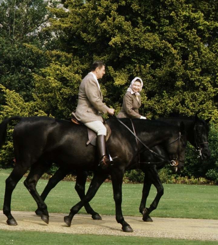 President Reagan and Nancy Reagan goes horse riding with Queen Elizabeth II of Great Britain. Queen ...