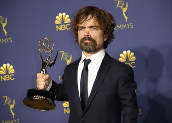 LOS ANGELES, CA - SEPTEMBER 17: Peter Dinklage poses with the Outstanding Supporting Actor for a Drama Series award for 'Game of Thrones' in the press room on September 17, 2018 in Los Angeles, California. (Photo by Dan MacMedan/Getty Images)