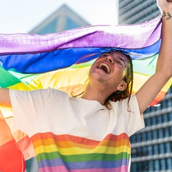 A queer person dances with multiple rainbow pride flags at a parade. Here's what the colors of diffe...