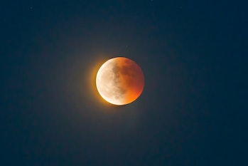 Full lunar eclipse taken from Tianjin, China on  May 26, 2021. A lunar eclipse (also known as a bloo...