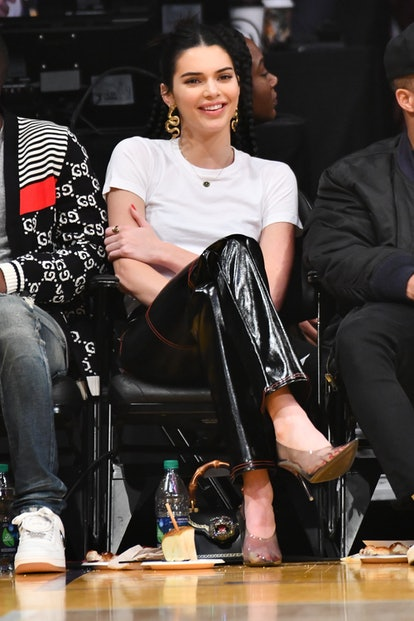 Kendall Jenner at the Los Angeles Lakers and the Philadelphia 76ers in 2019.