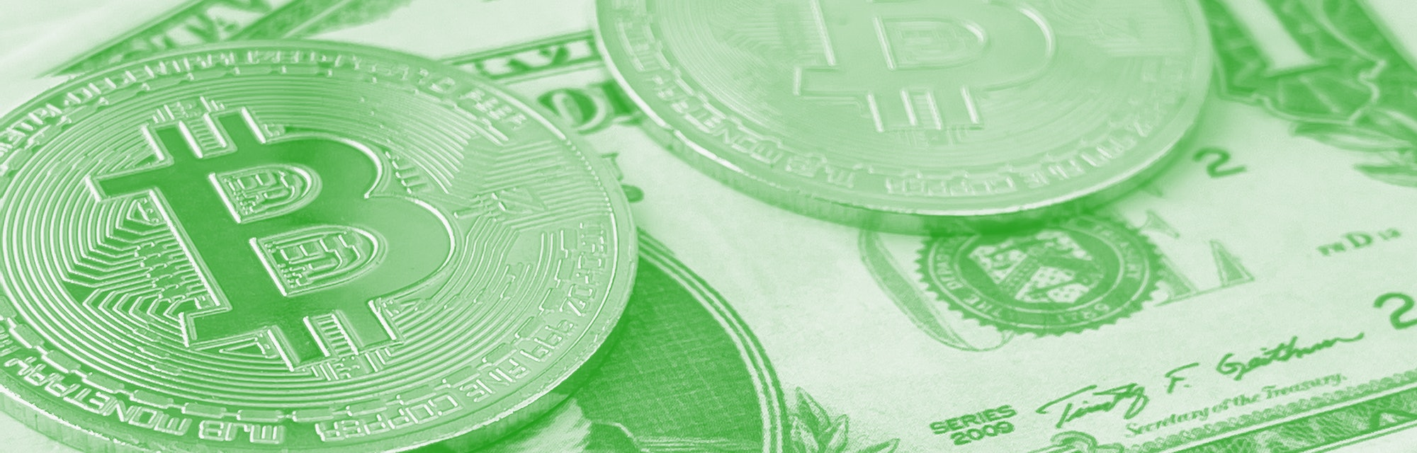 Istanbul - May 30, 2021:  Cryptocurrency on the US paper currency.