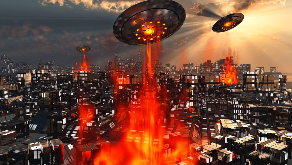 Alien Flying Saucers Attacking An Earth City