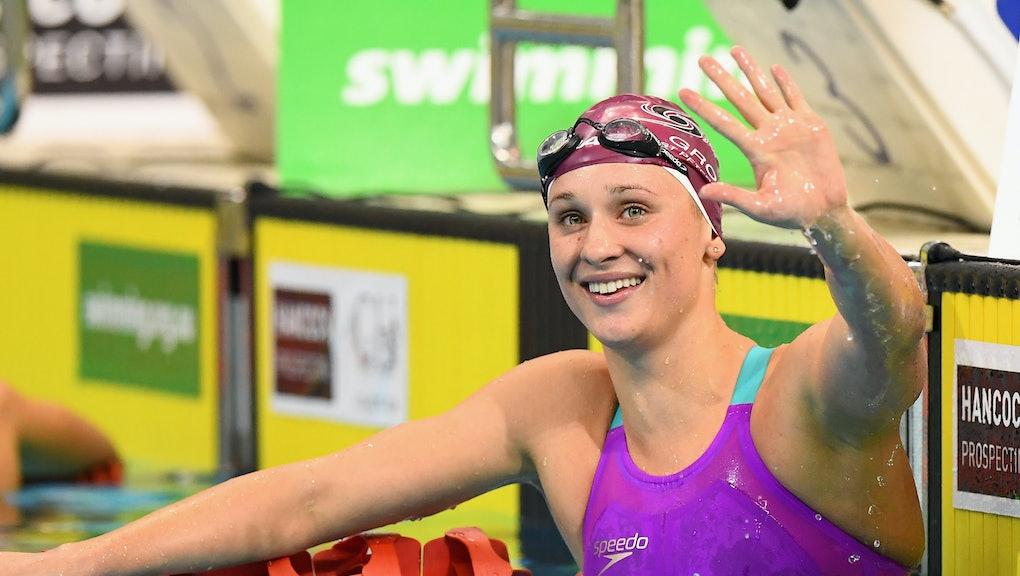 ADELAIDE, AUSTRALIA - APRIL 11:  Madeline Groves of Australia celebrates winning the Women's 200 Met...