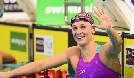 ADELAIDE, AUSTRALIA - APRIL 11:  Madeline Groves of Australia celebrates winning the Women's 200 Metre Butterfly during day four of the Australian Swimming Championships at the South Australian Aquatic & Leisure Centre on April 10, 2016 in Adelaide, Australia.  (Photo by Quinn Rooney/Getty Images)