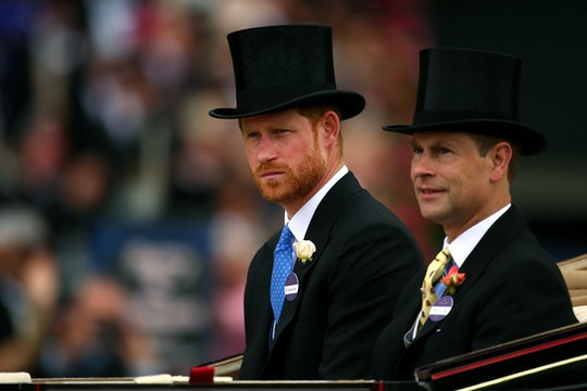 ASCOT, ENGLAND - JUNE 19:  Prince Harry, Duke of Sussex and Prince Edward, Earl of Wessex attend day...