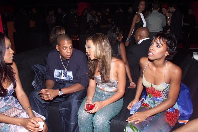 Jay Z and Destiny's Child at the Giorgio Armani Exhibition opening party in 2000.