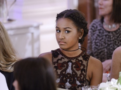 WASHINGTON, DC - MARCH 10: Sasha Obama attends a State Dinner at the White House March 10, 2016 in W...