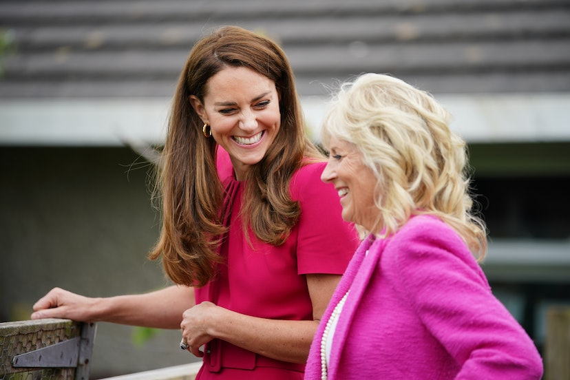 Duchess of Cambridge Kate Middleton and U.S. First Lady Dr Jill Biden wore matching outfits during their visit to Connor Downs Academy as part of the G7 summit.