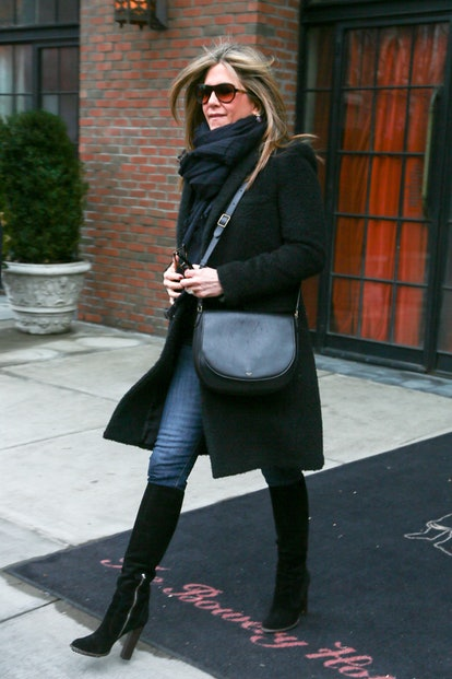 Jennifer Aniston wore a black crossbody bag while out in NYC.