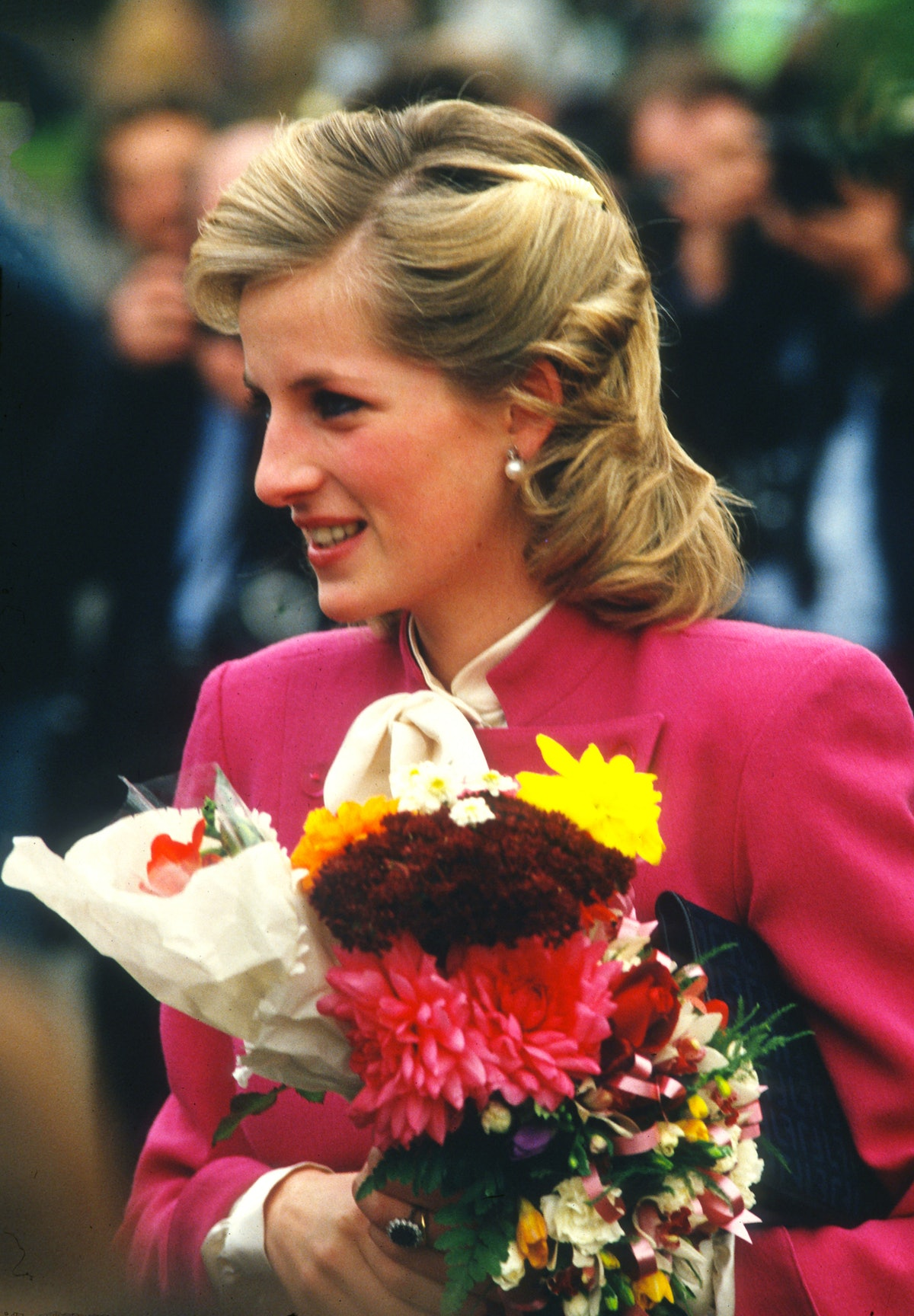 Diana, Princess of Wales, is known for her signature short cut, but this 1940s-inspired look showed off her longer layers.
