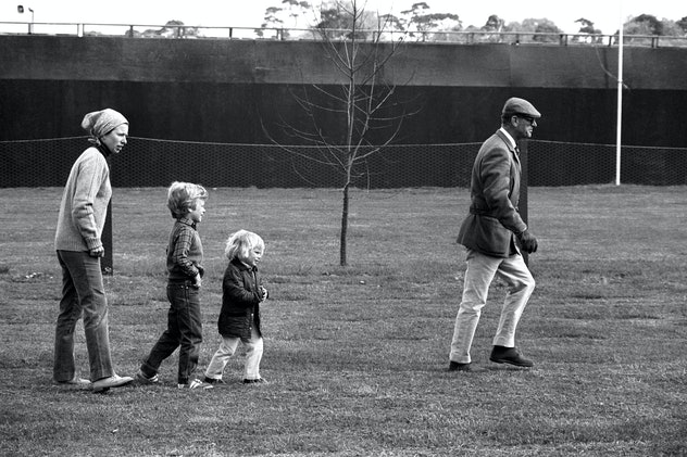 Peter and Zara Phillips follow their grandfather.