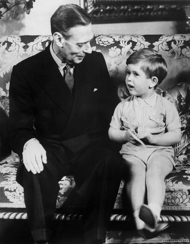 King George VI with Prince Charles.