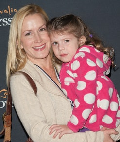 """BURBANK, CA - FEBRUARY 27:  Actress Angela Kinsey and daughter attend Celebrity Red Carpet Opening For Cavalia's """"Odysseo"""" at Cavalia's Odysseo Village on February 27, 2013 in Burbank, California.  (Photo by Michael Bezjian/WireImage)"""
