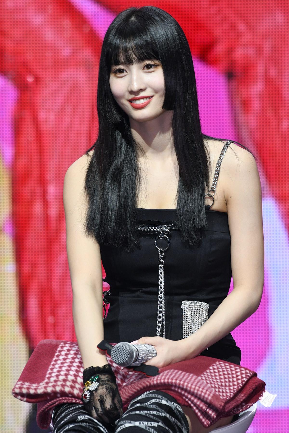 SEOUL, SOUTH KOREA - APRIL 22: Momo of TWICE attends TWICE's 7th Mini Album 'FANCY YOU' Release Showcase at Yes24 Live Hall on April 22, 2019 in Seoul, South Korea. (Photo by The Chosunilbo JNS/Imazins via Getty Images)