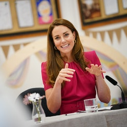 Kate Middleton says she's excited to meet Prince Harry and Meghan Markle's daughter, Lilibet Diana. (Photo by Aaron Chown/WPA Pool/Getty Images)