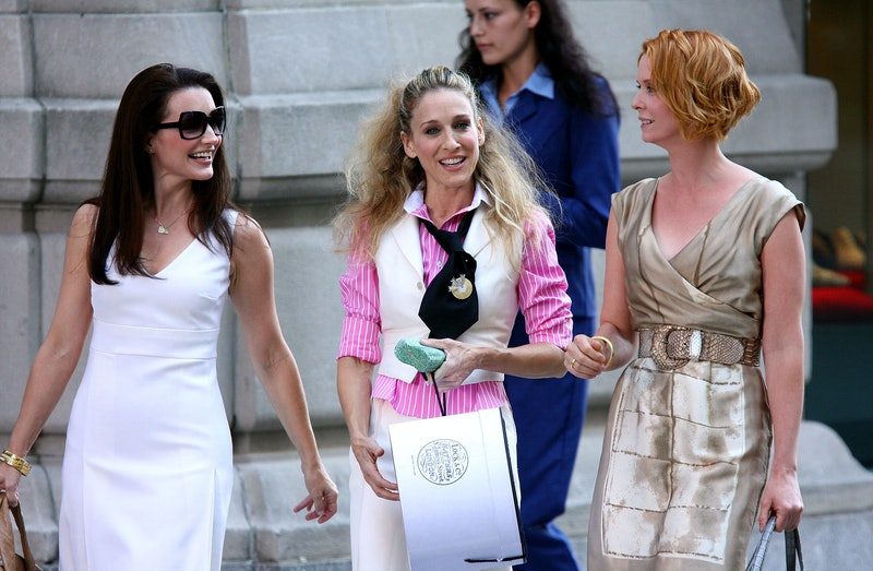 Actresses Kristin Davis, Sarah Jessica Parker and Cynthia Nixon on the set of Sex In The City: The M...
