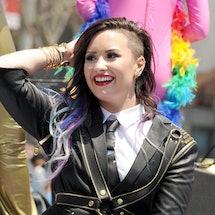 Actress/singer Demi Lovato performs at the 2014 LA Pride Parade.