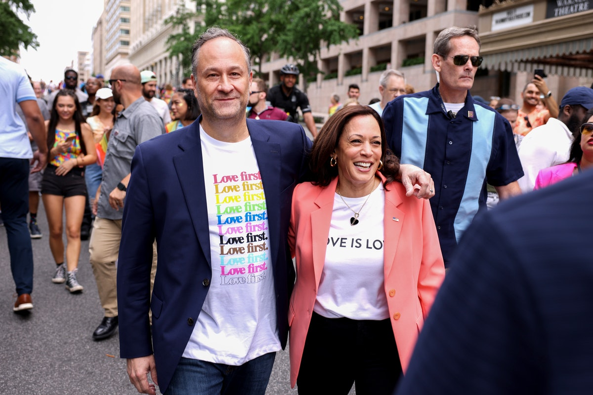 WASHINGTON, DC - JUNE 12: U.S. Vice President Kamala Harris and husband Doug Emhoff join marchers for the Capital Pride Parade on June 12, 2021 in Washington, DC. Capital Pride returned to Washington DC, after being canceled last year due to the Covid-19 pandemic. (Photo by Anna Moneymaker/Getty Images)