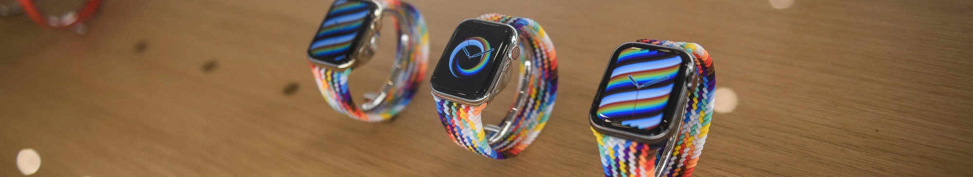 ROME, ITALY - MAY 27: A general view shows Apple Inc. iWatch during the official opening of the new ...