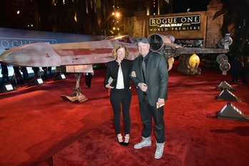 HOLLYWOOD, CA - DECEMBER 10: President of Marvel Studios Kevin Feige (R) and Caitlin Feige attend Th...
