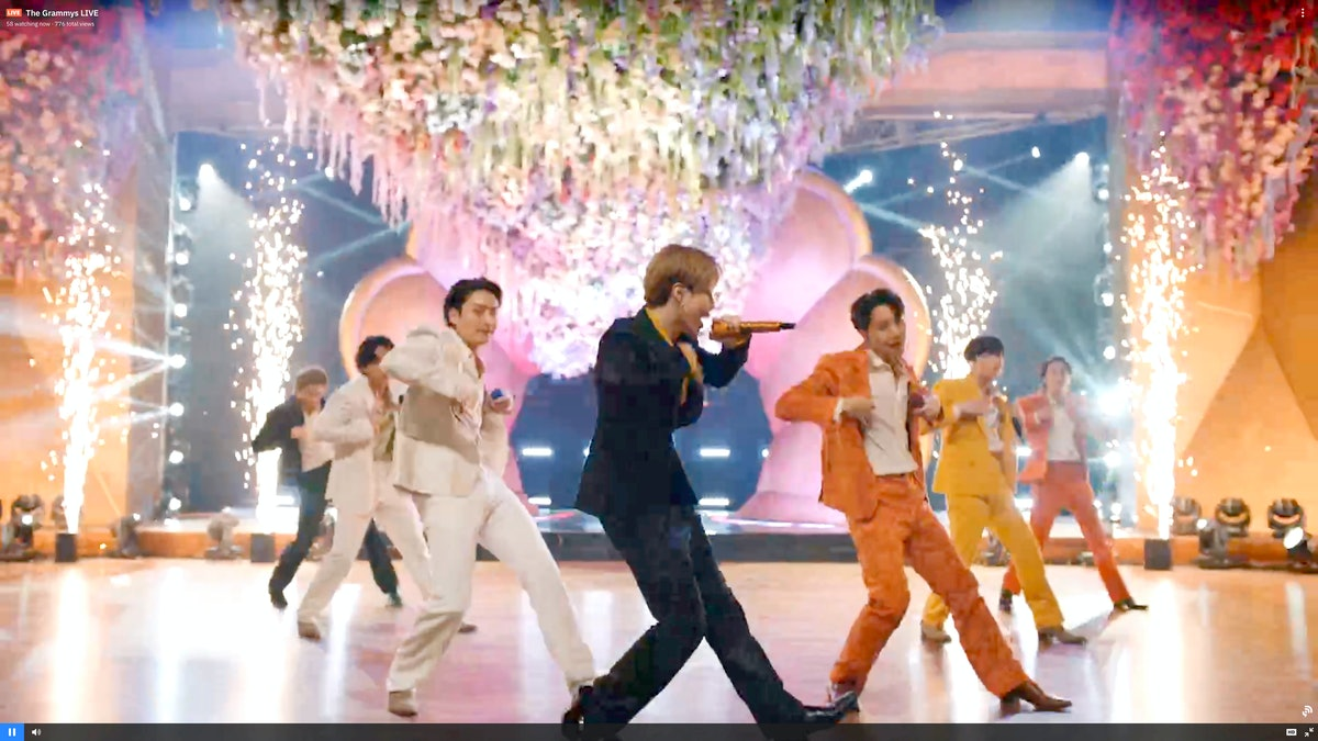 UNSPECIFIED: (L-R) In this screengrab released on March 14, RM, V, Jungkook, Jimin, J-Hope, Suga, and Jin of BTS perform onstage during the 63rd Annual GRAMMY Awards broadcast on March 14, 2021. (Photo by Theo Wargo/Getty Images for The Recording Academy)