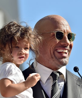 HOLLYWOOD, CA - DECEMBER 13:  Actor Dwayne Johnson and daughter Jasmine Johnson attend the ceremony ...