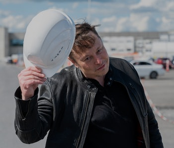 17 May 2021, Brandenburg, Grünheide: Elon Musk, Tesla CEO, stands on the construction site of the Te...