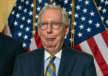 US Senate Minority Leader Mitch McConnell (R-KY) speaks during a news conference with fellow Republi...