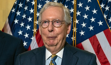 US Senate Minority Leader Mitch McConnell (R-KY) speaks during a news conference with fellow Republican senators on Capitol Hill in Washington, DC, on June 8, 2021. (Photo by ANDREW CABALLERO-REYNOLDS / AFP) (Photo by ANDREW CABALLERO-REYNOLDS/AFP via Getty Images)