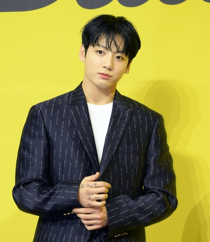 SEOUL, SOUTH KOREA - MAY 21: Jungkook of BTS attends a press conference for BTS's new digital single...