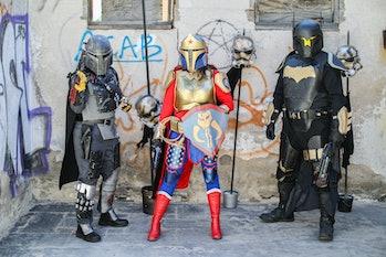 JACUMBA, CALIFORNIA - FEBRUARY 21: (L-R) Star Wars cosplayers Dana Sabbe as Taarna, Lisa Lower as Wo...