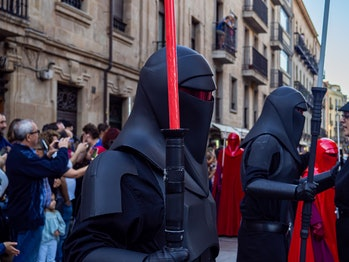 SALAMANCA, SPAIN - OCTOBER 05: Star Wars 501st Legion parade on the 11th Training Day along La Rúa S...
