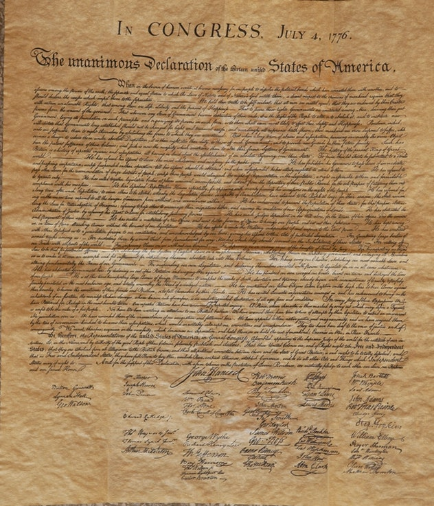 Parchment copy of the Declaration of Independence.
