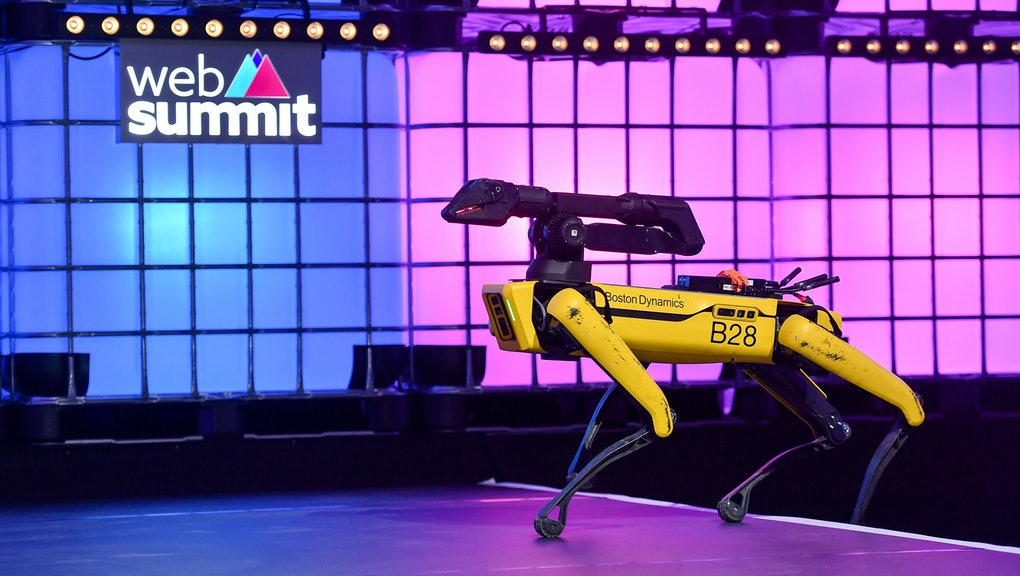 LISBON , PORTUGAL - 7 November 2019; Spot, Boston Dynamics, Robot, on Centre Stage during the final ...