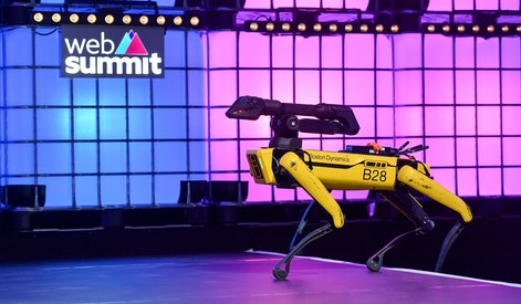 LISBON , PORTUGAL - 7 November 2019; Spot, Boston Dynamics, Robot, on Centre Stage during the final day of Web Summit 2019 at the Altice Arena in Lisbon, Portugal. (Photo By Sam Barnes/Sportsfile for Web Summit via Getty Images)