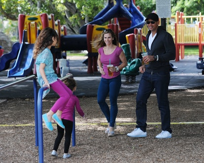 Alex Rodriquez with ex-wife Cynthia and their daughters Ella and Natasha in 2011 in Miami, Florida.