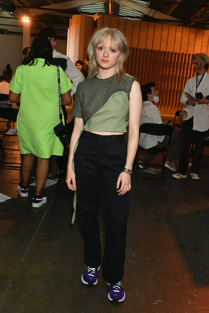 LONDON, ENGLAND - JUNE 12: Maisie Williams attends the Reuben Selby show during London Fashion Week ...
