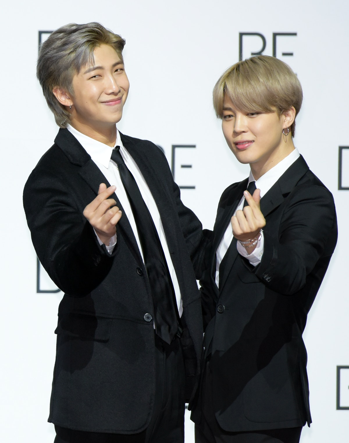 SEOUL, SOUTH KOREA - NOVEMBER 20: RM and Jimin of BTS during BTS's New Album 'BE (Deluxe Edition)' Release Press Conference at Dongdaemun Design Plaza on November 20, 2020 in Seoul, South Korea. (Photo by The Chosunilbo JNS/Imazins via Getty Images)