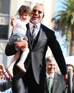 LOS ANGELES, CA - DECEMBER 13: Dwayne Johnson and daughter Jasmine Johnson attends a ceremony honoring him with a star on The Hollywood Walk of Fame on December 13, 2017 in Los Angeles, California.(Photo by JB Lacroix/ WireImage)