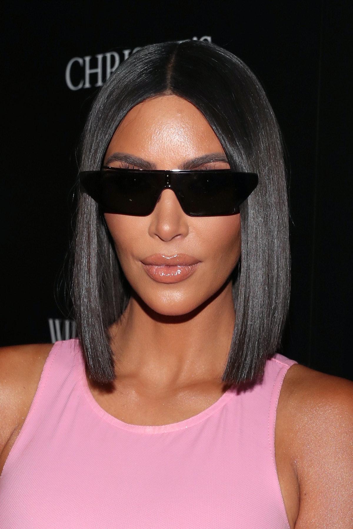 Kim Kardashian sports a super sleek bob at a Christie's event in 2018.
