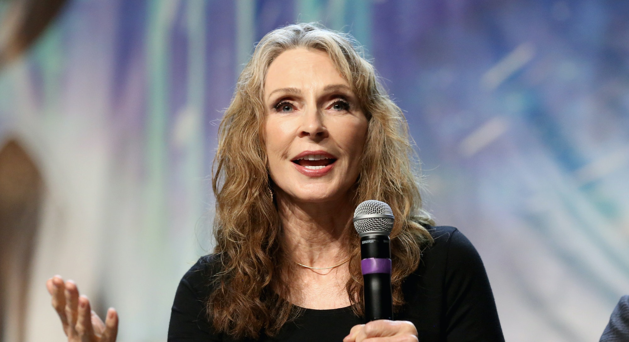 """LAS VEGAS, NV - AUGUST 03:  Actress and choreographer Gates McFadden speaks at the """"TNG - Part 1"""" pa..."""