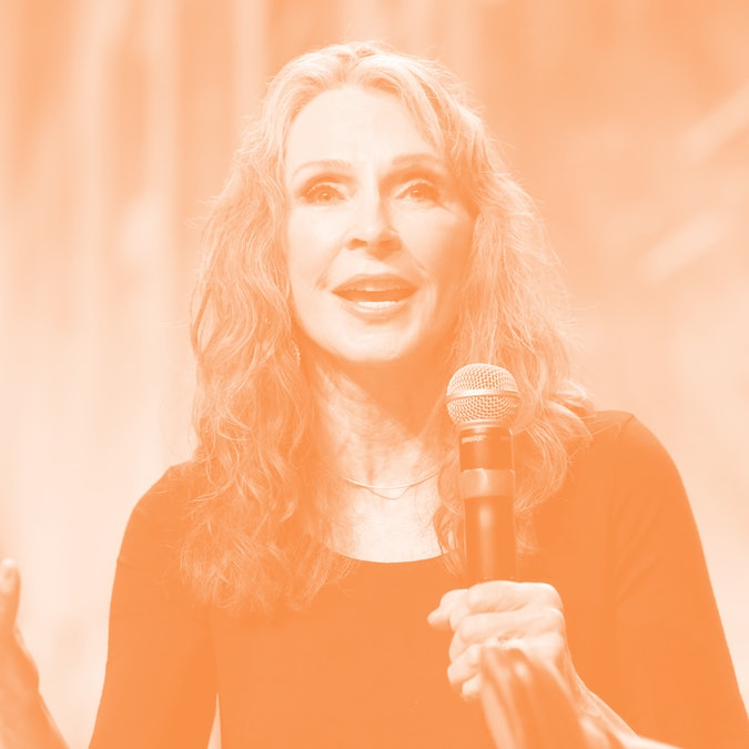 """LAS VEGAS, NV - AUGUST 03:  Actress and choreographer Gates McFadden speaks at the """"TNG - Part 1"""" panel during the 17th annual official Star Trek convention at the Rio Hotel & Casino on August 3, 2018 in Las Vegas, Nevada.  (Photo by Gabe Ginsberg/Getty Images)"""