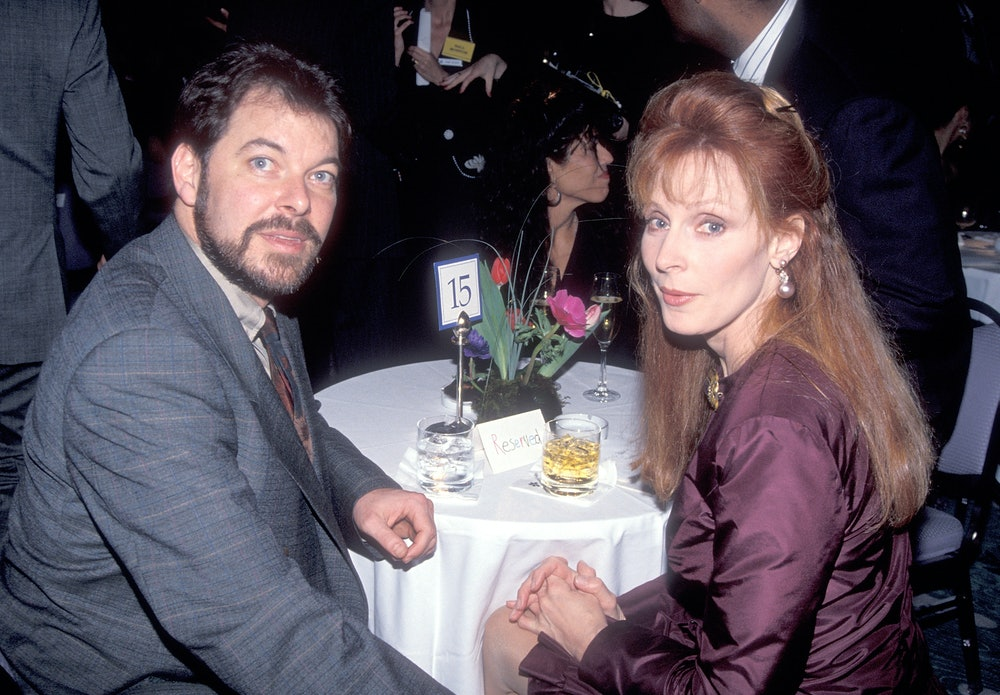 BEVERLY HILLS, CA - FEBRUARY 10:   Actor Jonathan Frakes and actress Gates McFadden attend Education...