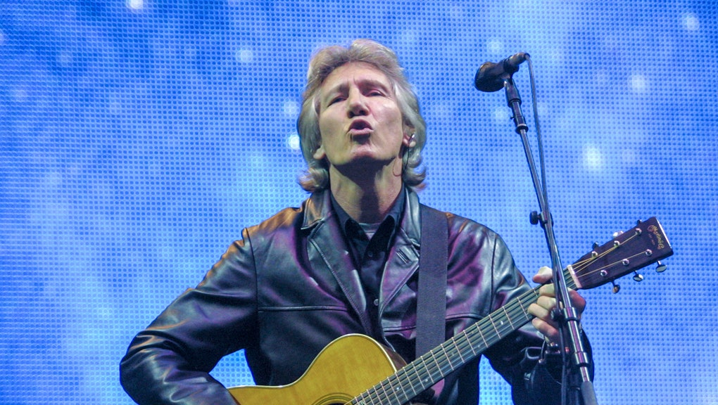 Roger Waters performs on the main Pyramid Stage at the 2002 Glastonbury Festival held at Worthy Farm...